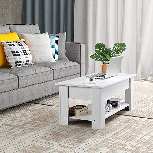 Yaheetech Lift Top Coffee Table w/Hidden Storage Compartment and Storage Shelf