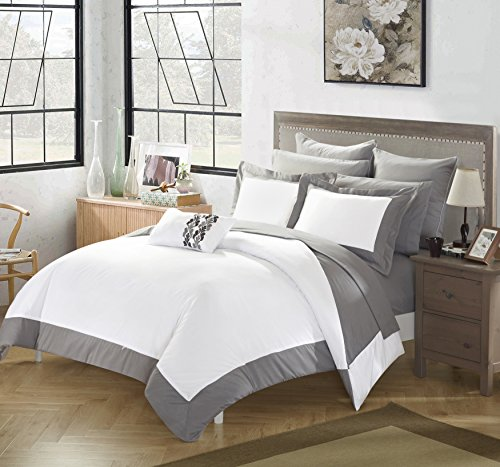 Chic Home 10 Piece Charlene MODERN TWO TONE REVERSIBLE HOTEL COLLECTION Queen Bed In a Bag Comforter Set Grey With sheetset by Chic Home (Image #1)