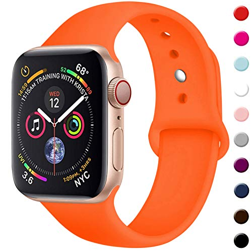 (TIMTU Sport Bands Compatible with Apple Watch 42mm 44mm, for Women Men, S/M Orange)