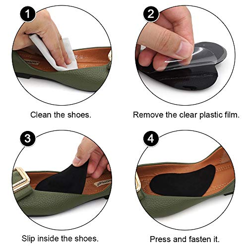 Skyfoot's Arch Support Shoe Inserts Plantar Fasciitis, Soft Gel Insoles for Flat Feet, Relieve Pressure from Pain for Men and Women 2 Pairs (Black)