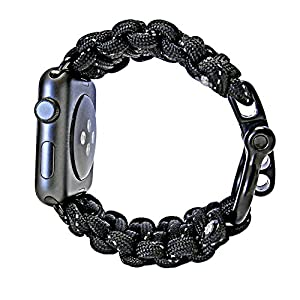 FIRELINE Apple Watch Band 42mm Replacement Paracord Watchband with Rugged Outdoor Survival Stainless Steel Shackle and Black Reflective 550 Paracord