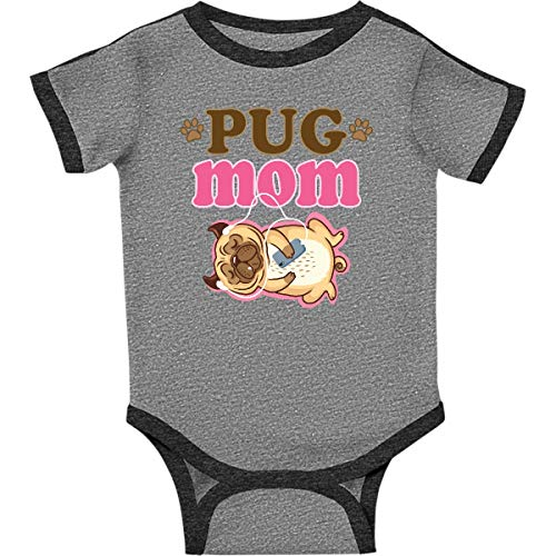 (inktastic - Funny Pug Infant Creeper 24 Months Ringer Heather and Smoke 35eae)