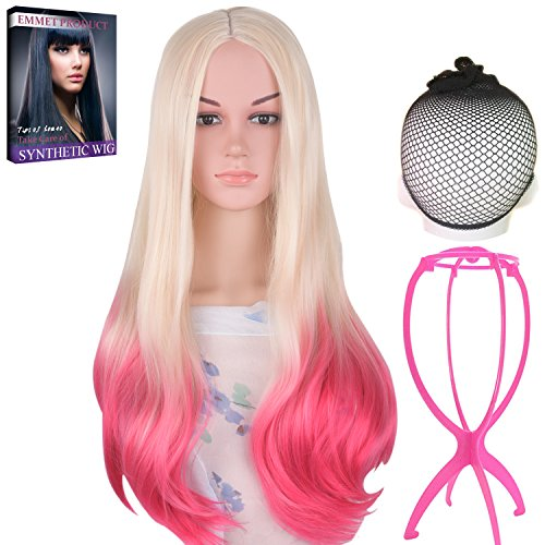 Emmet Long Wavy Synthetic Full Wigs Ombre Color Women's Quality Kanekalon Big Spiral Curly Cosplay Party Costume Wig with Free Wig Cap & Free Wig Stand Holder & Free Ebook (Discount Halloween Costumes Review)