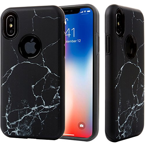 Marble Case iPhone X Black,iPhone 10 Case,DICHEER Hybrid Heavy Duty Shockproof Anti-Scratch Armor Rugged Dual Layer Hard Cover and Flexible TPU Slim-fit Protective Case for iPhone X