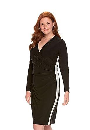 5cbc6f9b Chaps Women's Colorblock Ruched Sheath Dress, Black/Cream at Amazon ...