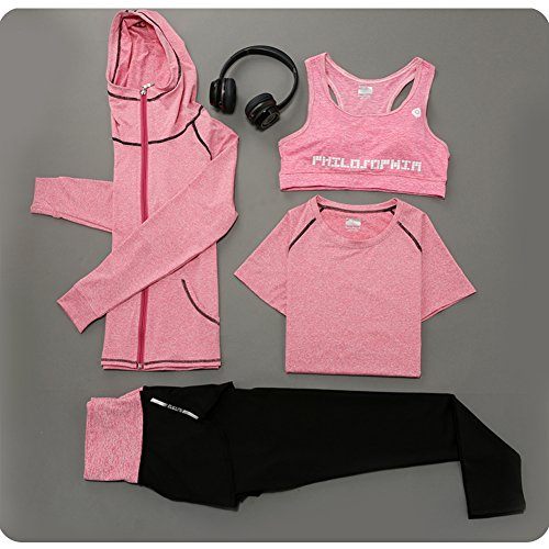 Suits Leisure For Sale (Huluwa Yoga Suit, Women's 4 Piece Activewear Set, Running Suit Gym Outfit Workout Sports Wear, Fitness Training Set, Pink,)