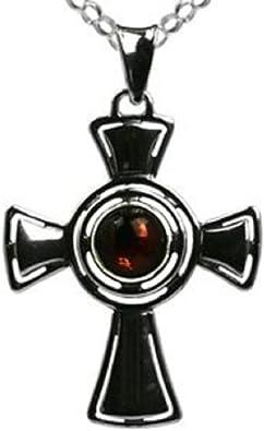 Amber Sterling Silver Medium Cross Pendant Ian and Valeri Co