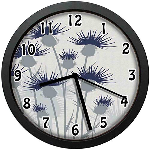 - kuangmaikuangmai-6 Vintage Wall Clock - Gardening Abstract Thistles Flowers Unique Decorative Wall Clock Nice for Gift or Office Home 10in with Frame