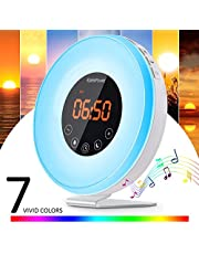 Digital Alarm Clock, Wake up to The Sounds of Nature, 7 Colors 6 Natural Sounds Sleep Function Night Light, LED Display with Time Display, Date, Temperature, Snooze Function