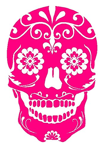 - Sugar Skull Floral Mexican Window Sticker Decal - Hot Pink