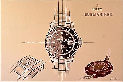Rolex Submariner - cuadro - Impresión digital/acrílico sobre lienzo - Martin pequeño - Relojes de: Amazon.es: Hogar