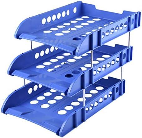 DYY Dreischichtiger Dateihalter Kunststoffablage Ordner Desktop-Ablagekorb Büroklassifizierung Verbrauchsmaterial Schreibwaren (Farbe : Blau)
