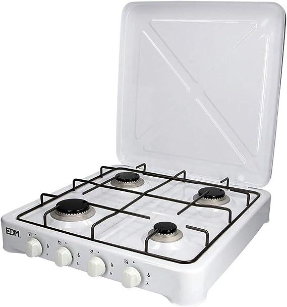 EDM 07422 Cocina de Gas Esmaltada con 4 Fuego, Varios Colores