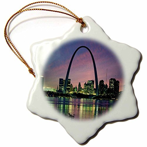 Wild Bramble 3-Inch Porcelain Snowflake Decorative Hanging Ornament, St Louis Missouri Arch At Nite