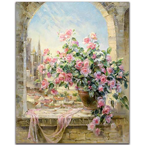 Fengtuo DIY Oil Painting Paint by Number Kit Canvas Painting Hand Colouring Decorative Picture-Flower in Vase 16