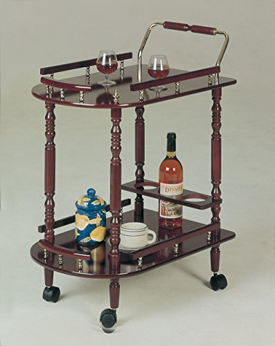 Coaster Serving Cart-Cherry - Holder Rail Guard