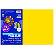 Pacon Tru-Ray Construction Paper, 12-Inches by 18-Inches, 50-Count, Yellow (103036)