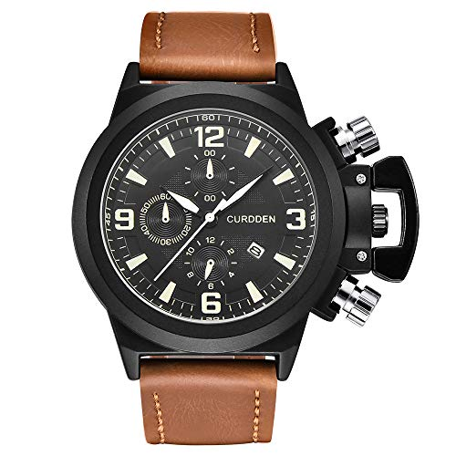 Clearance! Men Watch Male Leather Automatic Date Quartz Watches Mens Luxury Brand Waterproo (D)