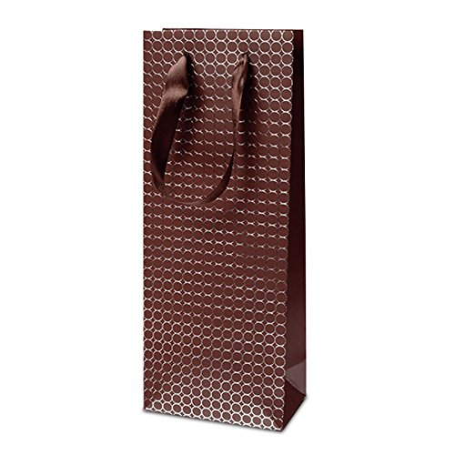 Wine Gift Bags 12-Pack of Embossed Gift Bags, Holds 1 Bottle of Wine or Spirits (Coffee)