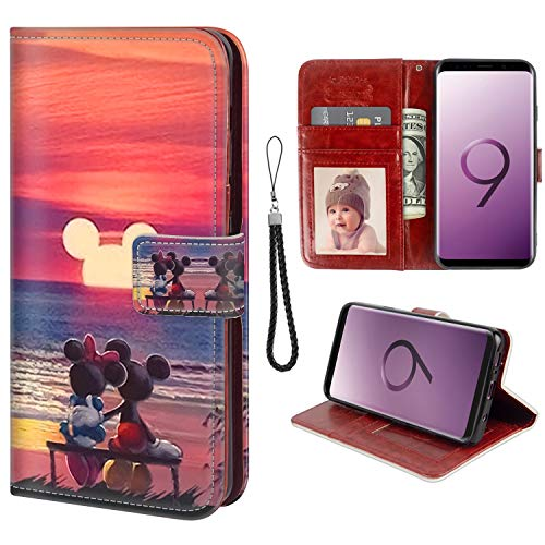 for Samsung Galaxy S9 Wallet Case Mickey Mouse Sunset Flip Leather Case with Kickstand PU Leather Stand Folio Cover Case for Samsung Galaxy S9