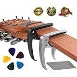 Guitar Capo, Ukulele Capo Made of Zinc Alloy for Acoustic and Electric Guitars, Ukulele and Banjo (2 Pack) with 5 Bonus Colorful Guitar Picks