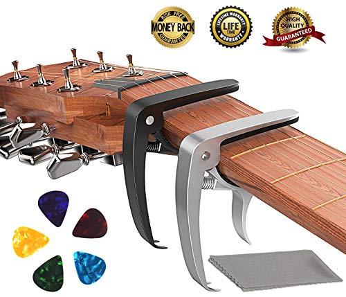 Guitar Capo, Ukulele Capo Made of Zinc Alloy for Acoustic and Electric Guitars, Ukulele and Banjo (2 Pack) with 5 Bonus Colorful Guitar Picks
