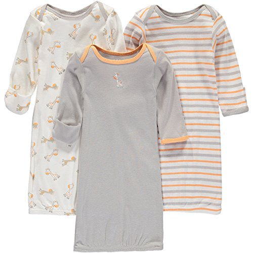 Wan-A-Beez Baby Boys' and Girls' 3 Pack Printed Gowns (0-6 Months, Orange Giraffe)
