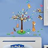 Amaonm Creaitve Jungle Wildlife Forest Animals Paradise Cartoon Monkey Owls Giraffe Elephant & Giant Bown Tree Wall Decal Wall Stickers Murals for Nursery Room Classroom Kids Bedroom Living room