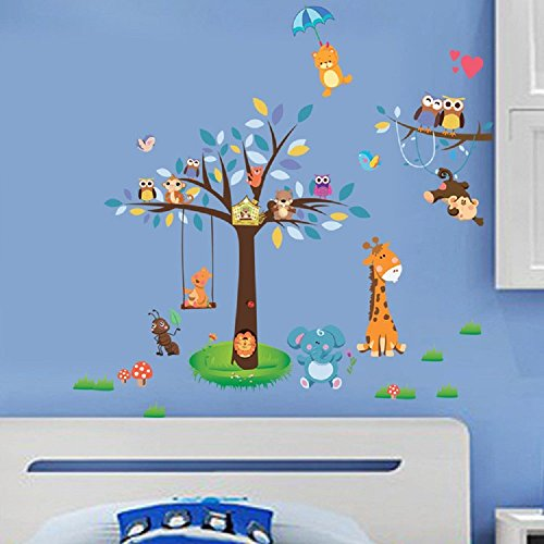 Amaonm® Creaitve Jungle Wildlife Forest Animals Paradise Cartoon Monkey  Owls Giraffe Elephant U0026 Giant Bown Tree Wall Decal Wall Stickers Murals For  Nursery ... Part 65
