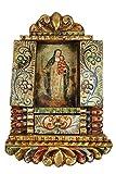 Saint Rose Of Lima Colonial Cuzco Peru Handmade Retablo Folk Art Framed Oil Painting on Canvas Hand Carved Wood Altarpiece