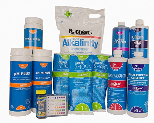Deluxe Swimming Pool - Rx Clear Deluxe Spring Swimming Pool Start Up Opening Chemical Kit for Pools Up To 7,500 Gallons