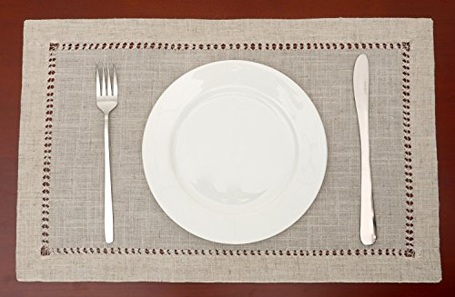 Grelucgo Handmade Hemstitched Table Placemats, Rectangle 12x18 Inch Set of 6, Natural Color - Hand hemstitched natural color 50% linen, 50% polyester Machine washable - placemats, kitchen-dining-room-table-linens, kitchen-dining-room - 51KaRYAFNKL -