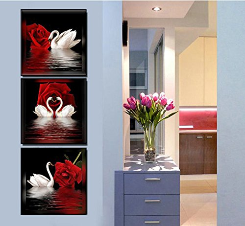 Amoy Art -3 Panels Beautiful Romantic Swans Art Print on Canvas Red Rose Flowers Wall Art Decor Stretched Frames for Bedroom Bathroom Ready to (Rose Flower Picture)