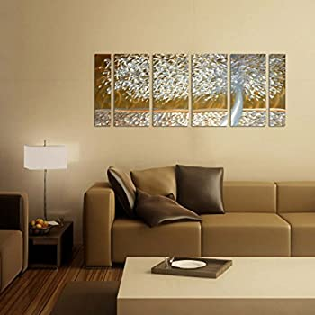 Amazon.com: Metal Wall Art Sculpture Golden Trees Silver Gold Modern ...
