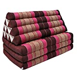 Thai triangle cushion/mattress XXL, with 3 folding seats,sofa, relaxation, beach, pool, meditation, yoga, made in Thailand Bordeaux/Pink (81418)