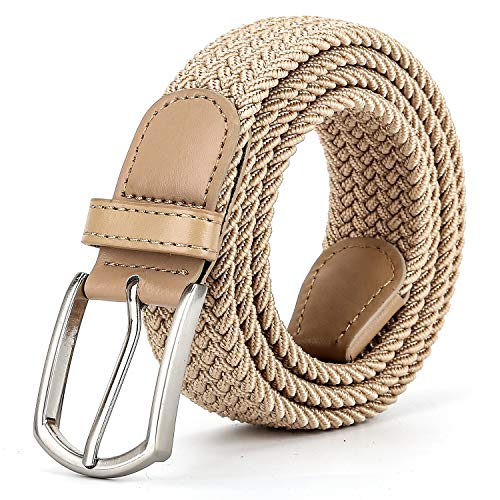 Beige Stretch Belt - Braided Canvas Woven Elastic Stretch Belts for Men/Women/Junior with Beige