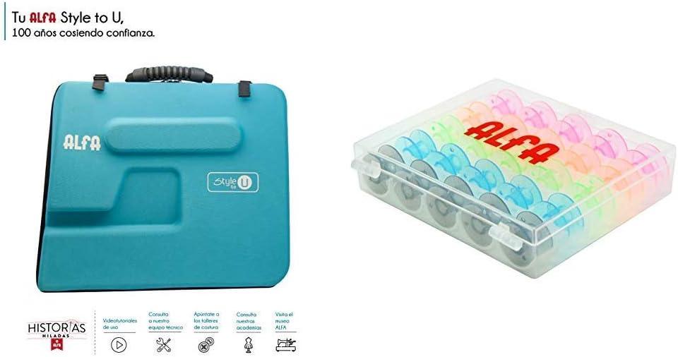 Alfa Style to You Funda para Maquina de Coser, Azul, 6050-Caja 25 canillas Colores: Amazon.es: Hogar