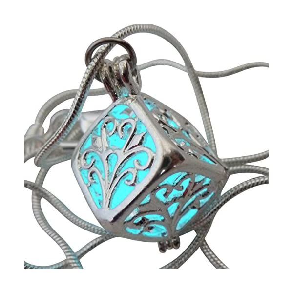 UMBRELLALABORATORY Wishing Necklace, Steampunk Jewelry Box Fairy Magical Glow in The Dark-Blue-Silver 3