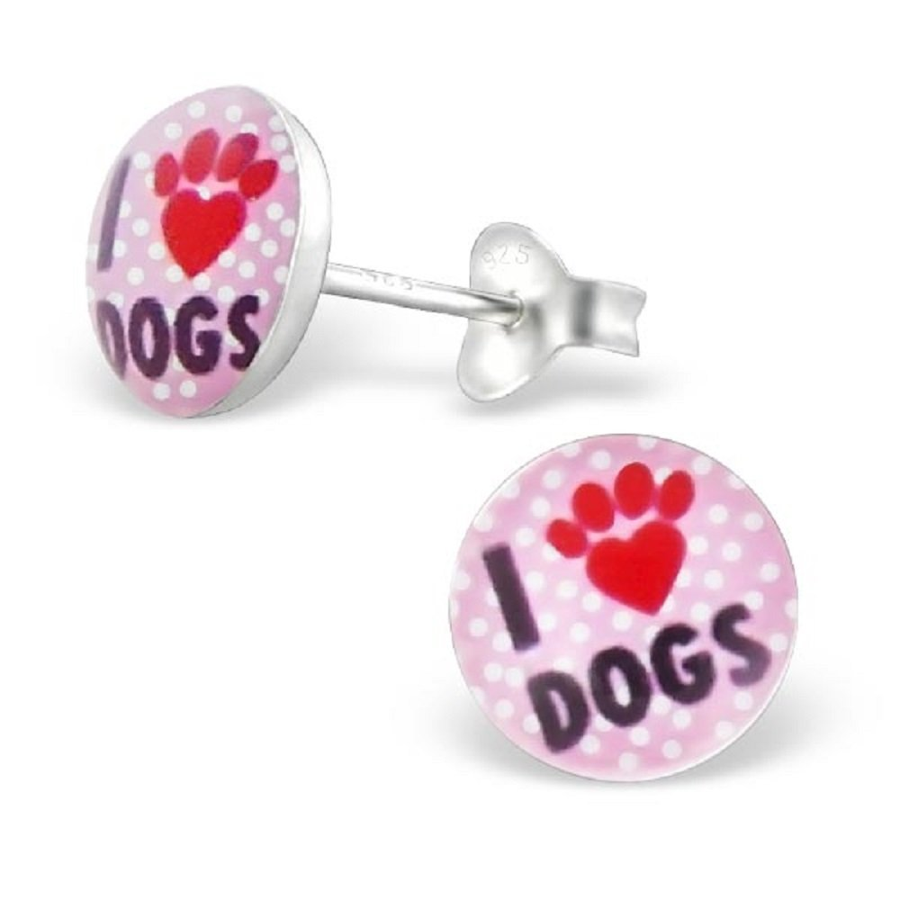 925 Sterling Silver Pink 'I Love Dogs' w/ Paw Print Stud Earrings for Girls 19716 (Nickel Free)
