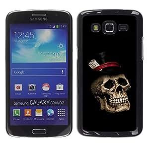 TopCaseStore / la caja del caucho duro de la cubierta de protección de la piel - Gentleman Skull Top Hat - Samsung Galaxy Grand 2 SM-G7102 SM-G7105