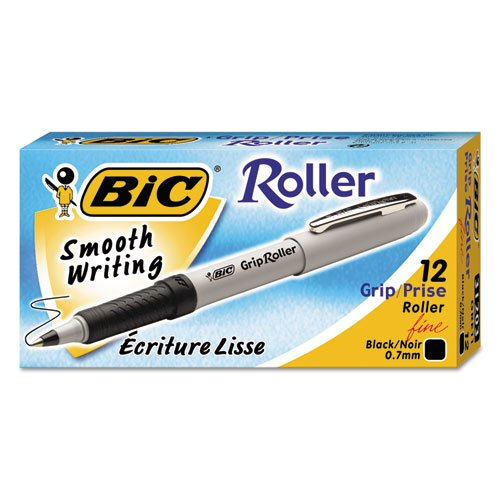 BICamp;reg; Grip Stick Roller Ball Pen, Gray Barrel, Blue Ink, Fine Point, 0.70 mm