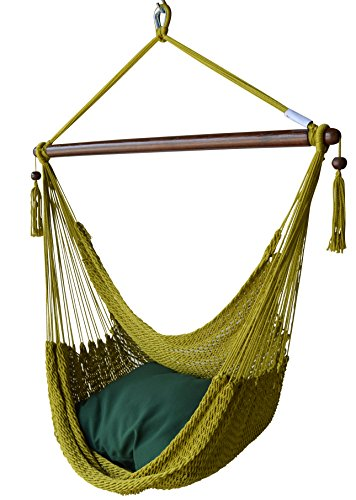 Caribbean Hammock Chair with Footrest - 40 inch - Soft-Spun Polyester - (Olive)
