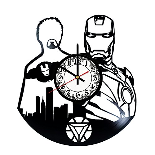 Anthony Stark Iron Man Handmade Vinyl Record Wall Clock - Get unique room wall decor - Gift ideas for his and her - Modern Unique Home Art Design
