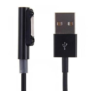 UKCOCO Cable de carga USB magnético con luz indicadora LED para Sony Xperia Z1 Z1 mini Z2 Mesa Z3 Z3 mini Z3 Mesa (negro)