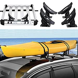 amazoncom gobuy kayak carrier roof rack canoe boat surf ski roof top mounted  car suv