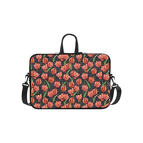 Shabby Chic Red Flower On Black Paper Pattern Briefcase Laptop Bag Messenger Shoulder Work Bag Crossbody Handbag for Business ()