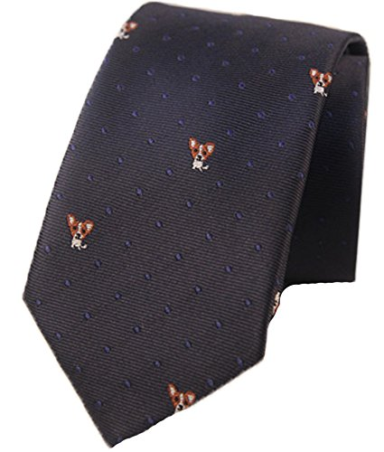 - Flairs New York Animal Lovers' Collection Neck Tie (Midnight Blue / Polka Dots [Diggy the Corgi])