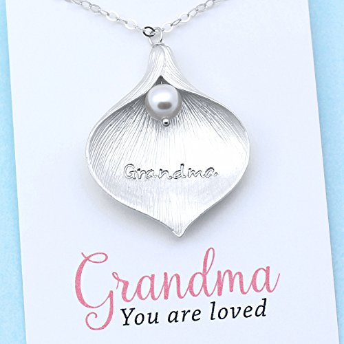 Personalized Grandma Necklace • Grandmother Jewelry • Engraved Calla Lily Charm • Sterling Silver • Freshwater Pearl Pendant • Handcrafted • One of a …