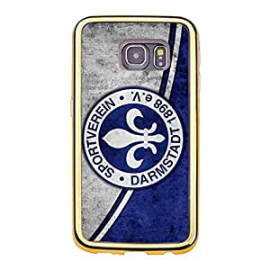 Darmstadt Phone Case for Samsung Galaxy S6 Edge Retro Official Darmstadt Football Club Logo Plastic Gold Frame Phone Shell Case