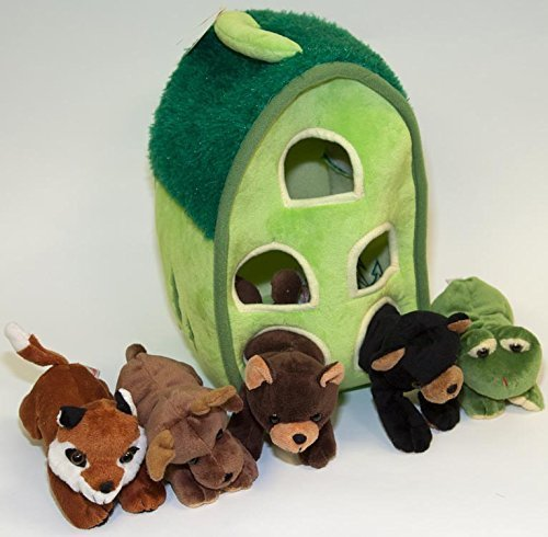 Moose House - Plush Forest Animal House with Animals - Five (5) Stuffed Forest Animals ( Brown Bear, Black Bear, Moose, Frog, Fox) in Play Forest Carrying House